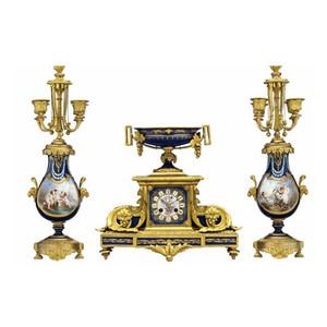 Sèvres Style Gilt Bronze-Mounted Porcelain Cobalt-Blue 'Jeweled' Clockset