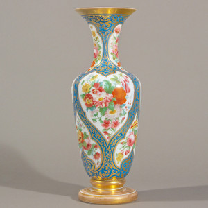 An Exquisite Large Baccarat Vase with Painted Flower Motif