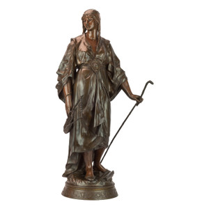 A Fine Patinated Bronze Sculpture of an Orientalist Woman with a Walking Stick by Emile Louis Picault