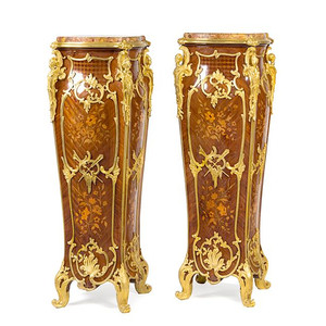 A Fine Pair of Louis XV Style Gilt Bronze Mounted Marquetry Pedestals with breche d'alep marble inset top