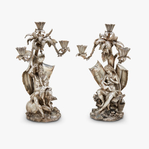 pair of silvered-bronze three-light figural candelabra by Elkington Mason & Co.