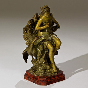 A Fine French Patinated Bronze Figure of Young Maiden sitting beside a Peacock surmounted atop a rouge marble plinth by Auguste Moreau