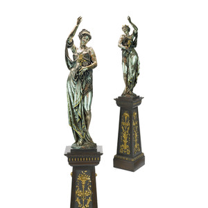 Pair of Highly Important Exposition Neo-Grec Silvered and Gilt Bronze Figural Bacchante Torchères