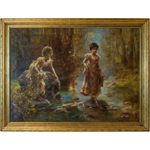 A fine oil painting depicting two females crossing a stream through a forest by Hans Zatzka