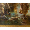 Painting depicting two females crossing a stream through a forest