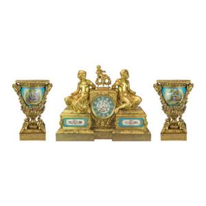 A Bourdin Monumental French Figural Gilt Bronze Mantel Clock Three-piece Garniture