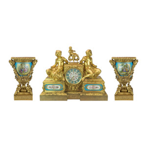 Figural Gilt Bronze Mantel Clock Three-piece Garniture