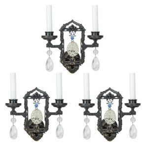A Fine Set of Three Chinoiserie Wall Sconces