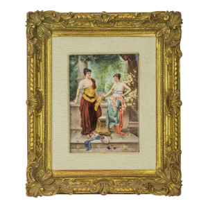 A Fine K.P.M. Porcelain Plaque of Two Beauties wearing Classical Dresses in the Courtyard by Munde