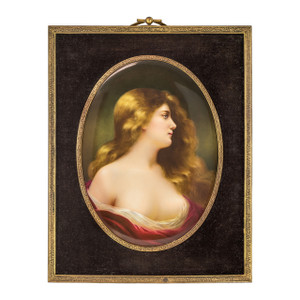 A Fine K.P.M. Porcelain Oval Plaque Depicting Odalisque