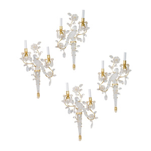 An Exquisite Set of Four Bagues Style French Two-light Gilt Bronze Parrot & Foliage Carved in Rock Crystal Wall Sconces