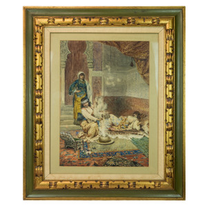A Fine Orientalist Painting Depicting Three Arab Women in the Harem by Antonio Rivas