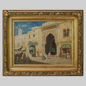 A Fine Orientalist Painting Depicting an Islamic Market by Addison Millar