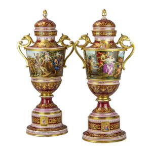 Important Pair of Magenta Ground Royal Vienna Porcelain Vases and cover finely painted with allegorical scene.