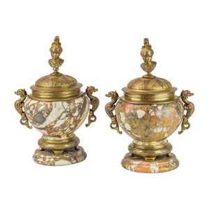 A Fine Pair of Brèche Polychrome Marble Urns and Cover