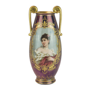 A Fine Vienna Gilt Porcelain Iridescent Purple Glaze Ground Portrait Vase