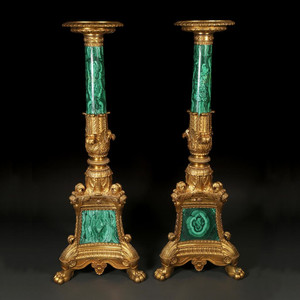 Highly Important Pair of Malachite and Ormolu Torchere by Thomire