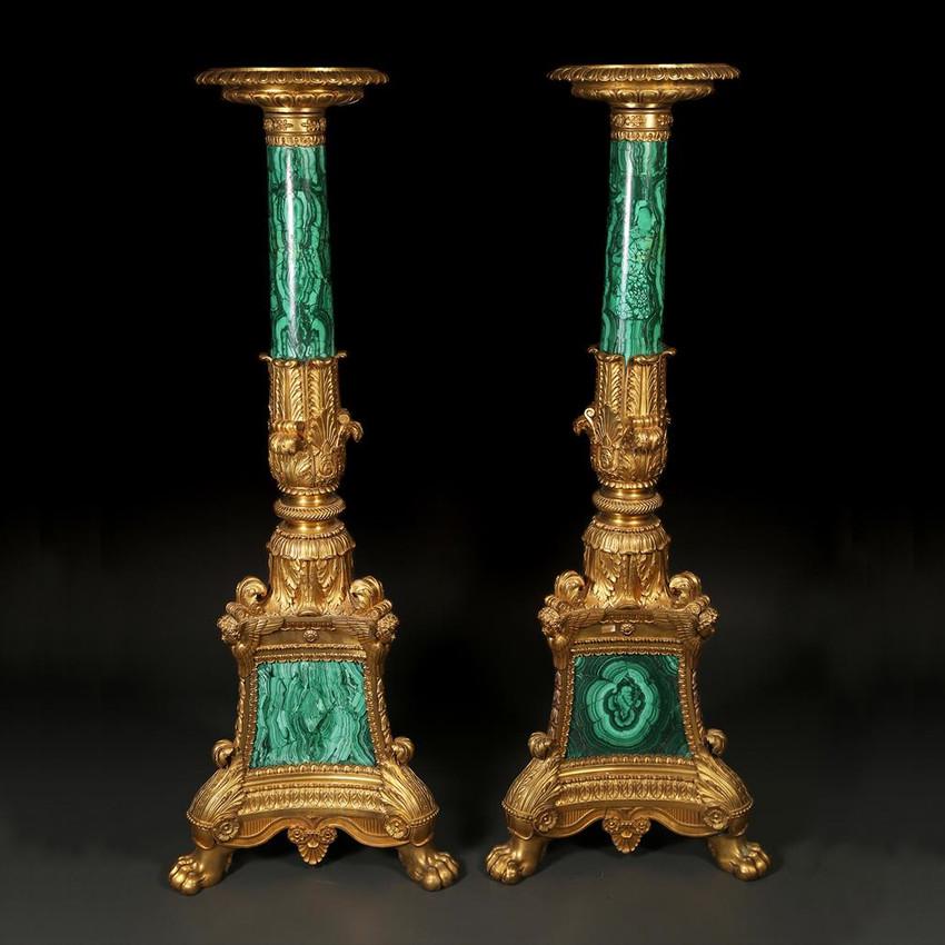 Pair of Malachite and Ormolu Torchere