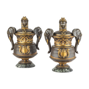 A Fine Pair of French Egyptian Revival Gilt and Patinated Bronze Vases.