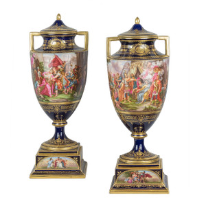 A Very Desirable Pair of Royal Vienna Porcelain Cobalt Ground Urns and Covers with Finely Painted Allegorical Scene