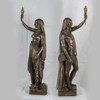 Pair of Important Bronze Figural Torcheres
