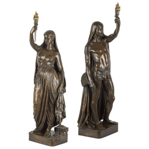 A Pair of Important Bronze Figural Torcheres by Barbedienne Foundry