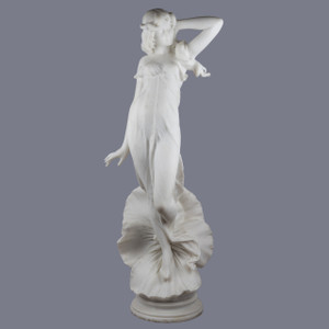 A Very Desirable Carrara Marble Sculpture of a Female Allegorical Figure