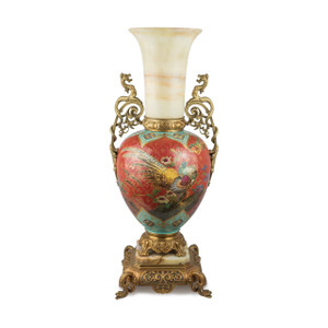 A Magnificent French Ormolu and Onyx Mounted Porcelain Vase in Iron-Red Ground Japonisme Taste
