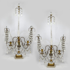 A Fine Pair of Baltic Neo-classical Cut Glass Mounted Ormolu, Rock Crystal and White Marble Three-light Candelabras