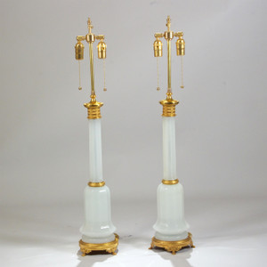 A Fine Pair French Gilt Bronze and White Opaline Table Lamps.