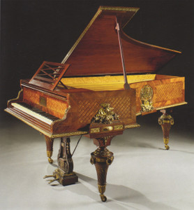 An Extremely Fine Quality Ormolu-Mounted Amaranth, Kingwood and Satine Trellis-Parquetry Grand Piano circa 1885-90