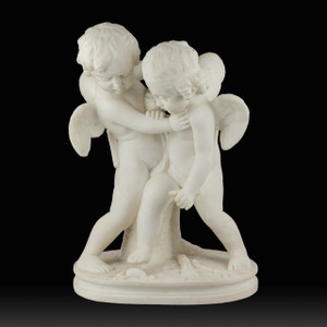 A Fine White Marble Sculpture of Two Cherubs Brawling Over a Stone