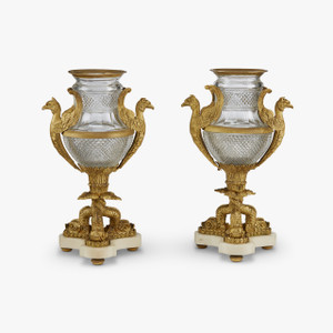 A Fine Quality Pair of Empire Style Gilt Bronze Mounted Diamond Print Cut Glass Urns
