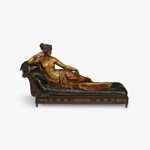 A Fine Quality Cold-Painted Austrian Bronze Figure of a Reclining Semi Nude Woman