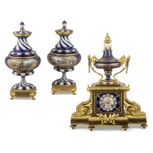 Sèvres-Style Gilt Bronze Jeweled Clock Set