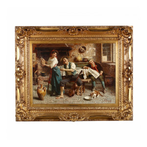 A Fine Oil Painting of a Tavern Scene by a well known Italian Artist Eugenio Zampighi