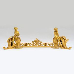 A Fine Pair of Louis XV Style Gilt Bronze Chenets