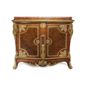 A large Louis XIV style gilt bronze-mounted kingwood, satinwood and fruitwood marquetry and parquetry side cabinet