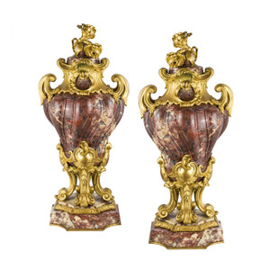 A Fine Pair of Louis XV Style Gilt-Bronze Mounted and Fleur de Pêcher Marble Cassolets