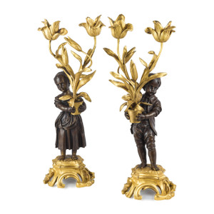 Pair of Louis XV-style Gilt and Patinated Bronze Two-light Candelabras