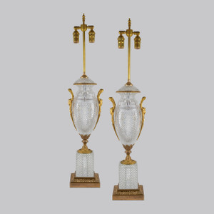 A Fine Pair of French 19th Century Cut Crystal Table Lamps