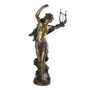 A Fine Patinated Bronze Figural Sculpture by M. Moreau