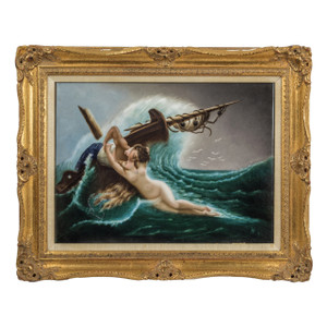 A Fine Berlin K.P.M. Porcelain Rectangular Plaque Depicting a Sailor Kissing a Nude Siren