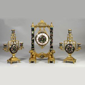 A Fine Chinoiserie Gilt bronze and Cloisonne Three-piece Clockset by Japy Freres