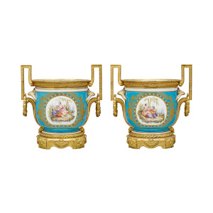 A Pair of Exquisite Gilt-Bronze Mounted Turquoise Ground Sèvres Style Jardinieres