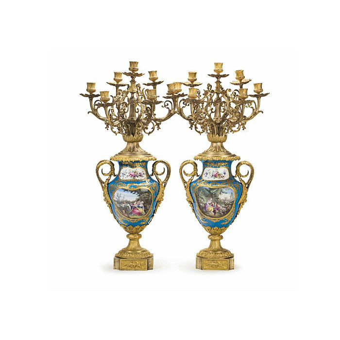 Pair of Sevres-style Turquoise-Ground Seven-Light Candelabras