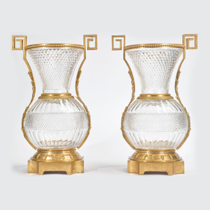 A Fine Pair of Large French Ormolu-Mounted Cut Crystal Vases