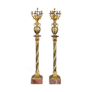 A Fine Pair of Large French Gilt and Silvered Bronze Candelabras on Pedestal