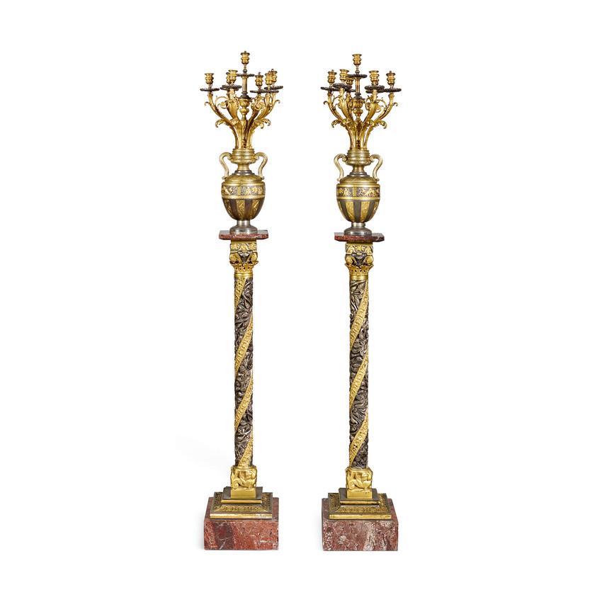 Gilt and Silvered Bronze Candelabras on Pedestal