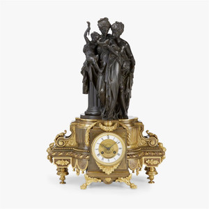 A Fabulous Napoleon III Gilt and Patinated Bronze Figural Mantel Clock movement by Auguste Lemaire